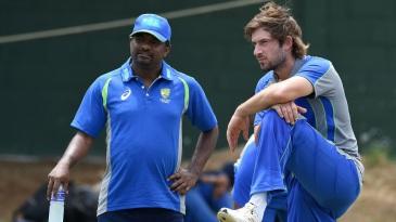 Muttiah Muralitharan with Joe Burns at training