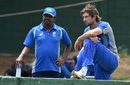 Muttiah Muralitharan with Joe Burns at training, Colombo, July 14, 2016