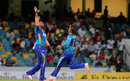 Kieron Pollard and Imran Khan celebrate the dismissal of Brad Hodge, Barbados Tridents v St Kitts and Nevis Patriots, CPL 2016, Barbados, July 13, 2016