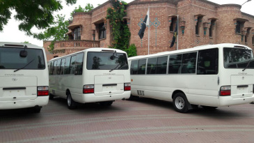 The PCB's new bulletproof buses outside the National Cricket Academy