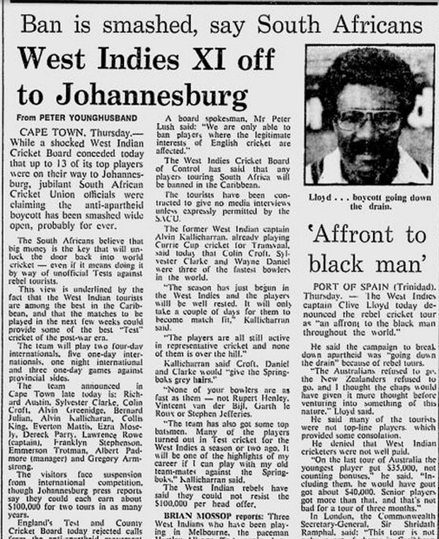 A 1983 news report on West Indies players choosing to tour apartheid South Africa