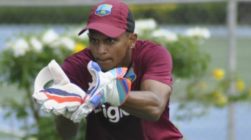 Shane Dowrich participates in wicket-keeping drills