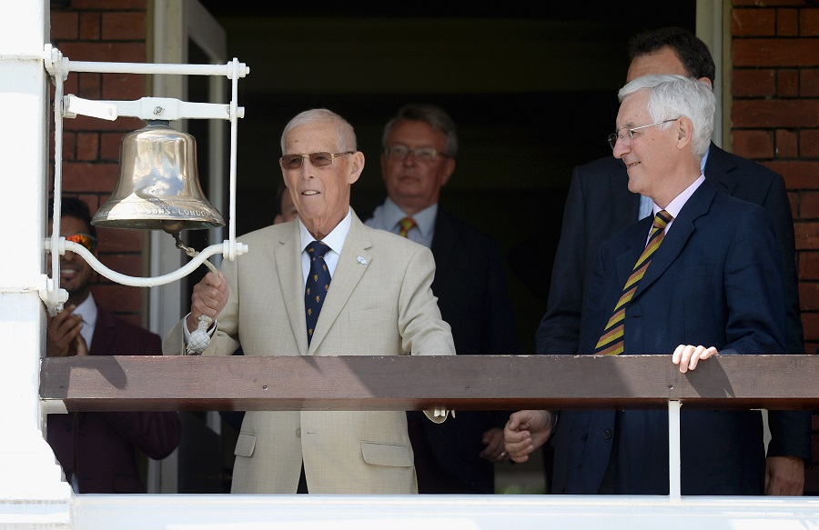 Hampshire rings the bell at the Lord's Test featuring Pakistan in 2016. Lord's was also the venue for two of the best Tests he umpired in