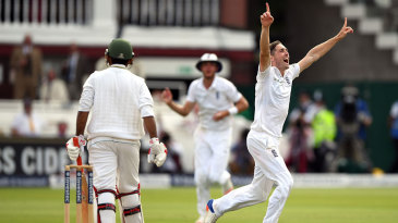 Chris Woakes claimed his tenth wicket of the match when he removed Sarfraz Ahmed