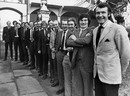 The England players pose for a photo outside Lord's. From left: Tony Greig, Bob Willis, Mike Hendrick, Chris Old, Pat Pocock, Geoff Arnold, John Jameson, Derek Underwood, Frank Hayes, Dennis Amiss, Jack Birkenshaw, Keith Fletcher, Bob Taylor, Alan Knott and Mike Denness, December 31, 1973