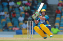 AB de Villiers goes low while playing a shot, Barbados Tridents v Trinbago Knight Riders, CPL 2016, Bridgetown, July 16, 2016