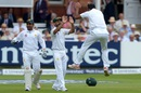 Wahab Riaz celebrates the wicket of James Vince with Mohammad Hafeez, England v Pakistan, 1st Investec Test, Lord's, 4th day, July 17, 2016