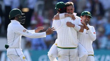 Pakistan celebrate the wicket of Jonny Bairstow
