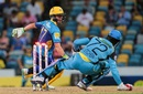 AB de Villiers scrambles back to avoid being stumped, Barbados Tridents v St Lucia Zouks, CPL 2016, Bridgetown, July 17, 2016