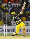 Andre Russell belts the ball through the off side, Jamaica Tallawahs v Trinbago Knight Riders, CPL 2016. Jamaica, July 18, 2016