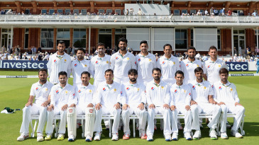 The Pakistan players strike a pose ahead of the start of the third day