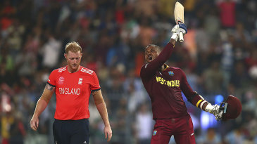 Marlon Samuels is ecstatic as West Indies edge closer in the final over