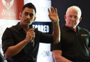 MS Dhoni with Craig McDermott at a promotional event in Delhi, Delhi, July 20, 2016