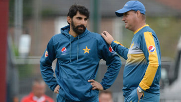 Misbah-ul-Haq and Mickey Arthur chat during net practice