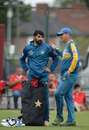 Misbah-ul-Haq and Mickey Arthur chat during net practice, Old Trafford, July 21, 2016