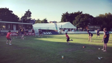 Durham cricketers play with kids on the outfield