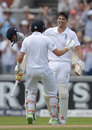 Alastair Cook gets a hug from Joe Root after notching a century, England v Pakistan, 2nd Investec Test, Old Trafford, 1st day, July 22, 2016