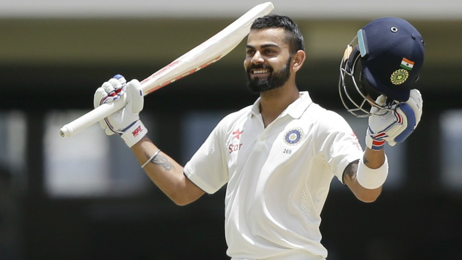 Virat Kohli celebrates his maiden double ton
