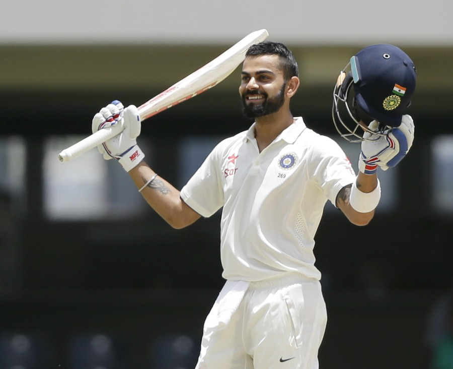 In the last over before lunch, Kohli brought up his maiden first-class double-hundred as India ended the first session on 404 for 4