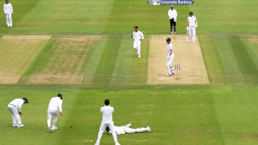 Mohammad Amir reacts as Sarfraz Ahmed drops Alastair Cook