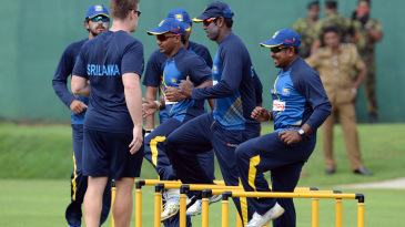 Sri Lanka players go through a fitness drill