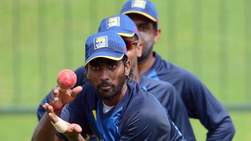 Nuwan Pradeep takes a catch during Sri Lanka's training session