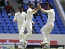 Mohammed Shami celebrates the wicket of Marlon Samuels, West Indies v India, 1st Test, Antigua, 3rd day, July 23, 2016