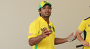Kumar Sangakkara speaks to local Florida kids about learning to play cricket during a clinic put on by Jamaica Tallawahs, Florida, July 22, 2016