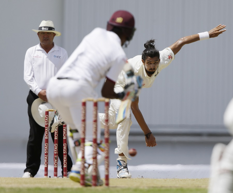 Ishant Sharma pinned Kraigg Brathwaite lbw to cap an excellent day for India. West Indies were 21 for 1, still trailing India by 302 runs