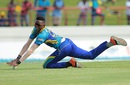 Shamar Springer fields the ball awkwardly, St Lucia Zouks v Barbados Tridents, CPL 2016, Gros Islet, July 23, 2016