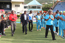 Darren Sammy and Johnson Charles walk through a guard of honour at a ceremony in which the Beausejour Stadium was renamed after Darren Sammy and a stand in it after Johnson Charles, St Lucia, July 21, 2016
