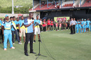 Darren Sammy says a few words to mark the renaming of Beausejour Stadium as Darren Sammy National Cricket Stadium, St Lucia, July 21, 2016