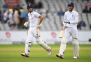 Alex Hales and Alastair Cook run from the field during a rain break, England v Pakistan, 2nd Investec Test, Old Trafford, 3rd day, July 24, 2016