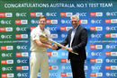 ICC CEO David Richardson presents Steven Smith with the Test mace in Pallekele, July 25, 2016