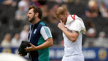 Ben Stokes cuts a dejected figure as he leaves the field with a calf injury