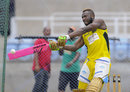Andre Russell hits one out in the nets with a pink bat, CPL 2016, Kingston, July 14, 2016