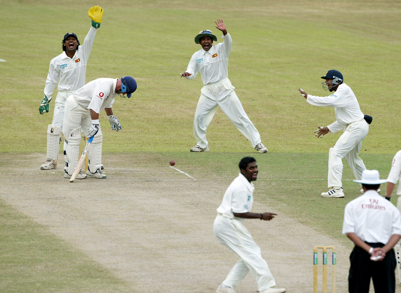 Muttiah Muralitharan and Sri Lanka appeal for a wicket in Kandy, 2003