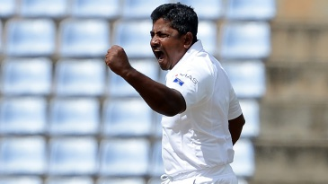Rangana Herath exults after removing Steven Smith