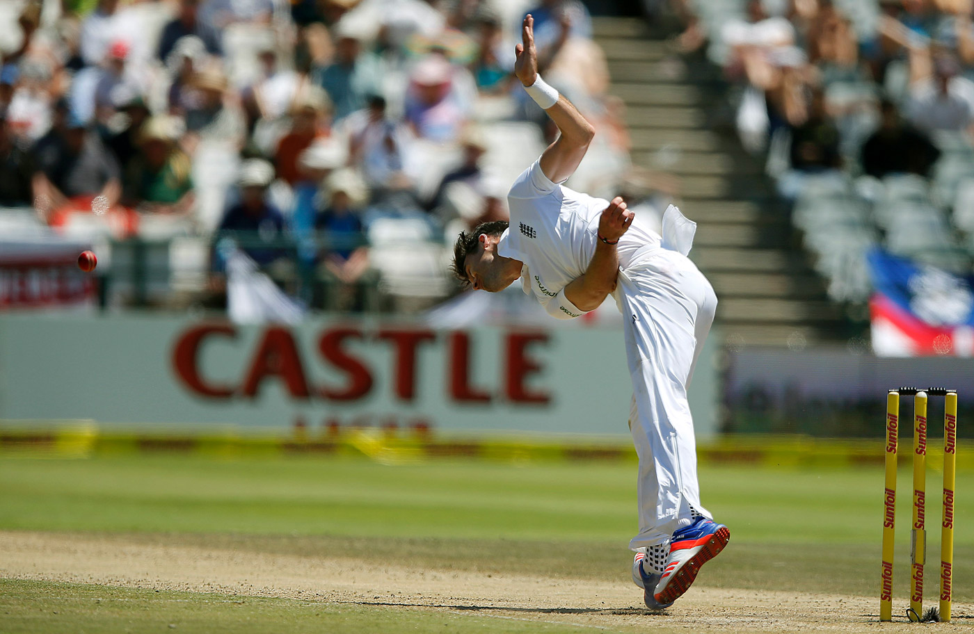 James Anderson bowls