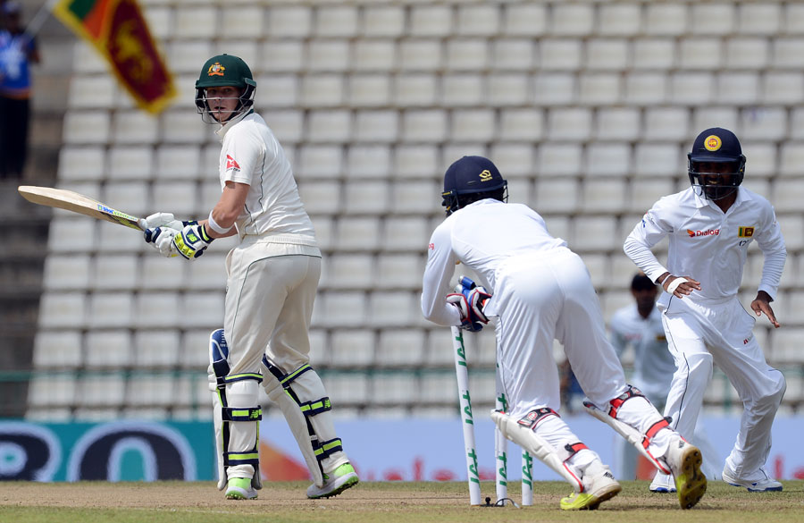Steven Smith is stumped off Herath in the 2016 Pallekele Test