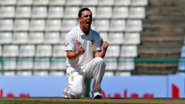 Steve O'Keefe is pumped up after dismissing Kaushal Silva