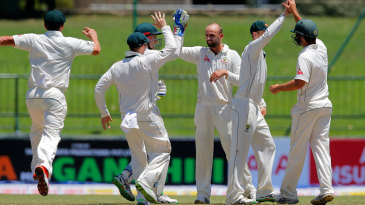 Nathan Lyon celebrates dismissing Angelo Mathews