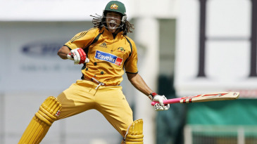 Andrew Symonds is ecstatic on reaching his hundred