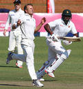 Hamilton Masakadza sets off for a run past Neil Wagner, Zimbabwe v New Zealand, 1st Test, Bulawayo, 1st day, July 28, 2016