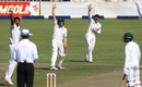 Ish Sodhi and New Zealand's close-in fielders go up in appeal, Zimbabwe v New Zealand, 1st Test, Bulawayo, 1st day, July 28, 2016