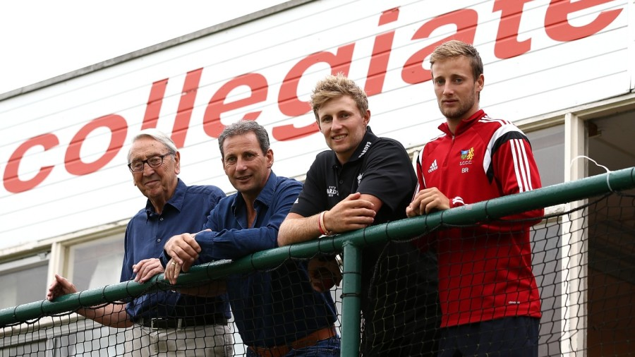 Joe Root with his grandfather Don, father Matt and brother Billy at Sheffield Collegiate CC