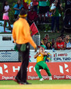 The crowd watches intently as Chris Lynn holds on to a catch, Barbados Tridents v Guyana Amazon Warriors, CPL 2016, Lauderhill, July 28, 2016