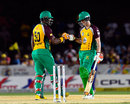 Dwayne Smith and Nic Maddinson have a chat during their stand of 92, Barbados Tridents v Guyana Amazon Warriors, CPL 2016, Lauderhill, July 28, 2016