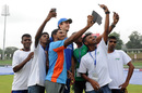 Ground staff at Pallekele take selfies with Mitchell Marsh during a rain delay, Sri Lanka v Australia, 1st Test, Pallekele, 4th day, July 29, 2016