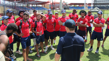 Tom Evans speaks to USA players shortly after squad to play CPL XI is announced